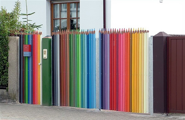 What an awesome color pencil fence for kids